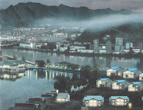 북한 장자강의 야경(夜景).jpg