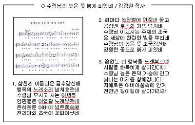 북한-대중가요-수령님의-높은-뜻-붉게-피였네-김정일-작사.jpg